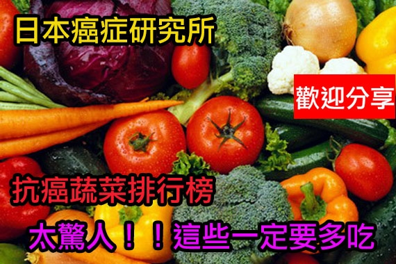 日本癌症研究所排出抗癌蔬菜排行榜...