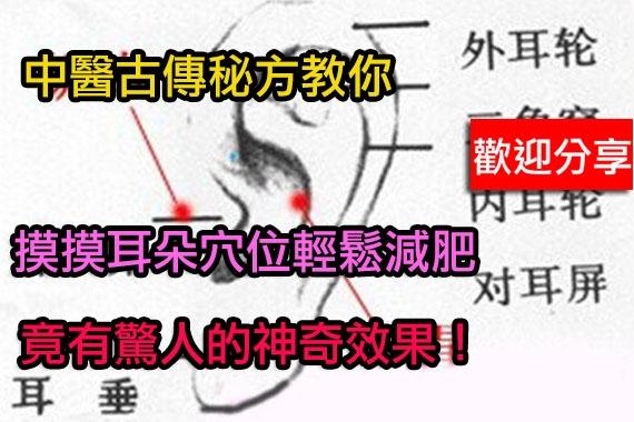 中醫教你摸摸耳朵穴位輕鬆減肥...