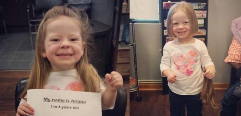 3歲的小女孩有著一頭美麗的長髮卻把它剪掉了,剪掉的『原因』讓...