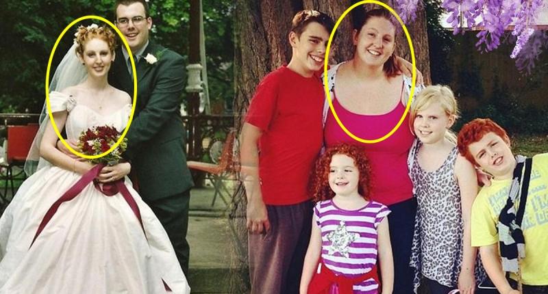當年結婚她纖細美麗,生了四個孩子後變這樣…現在她花了八個月就...