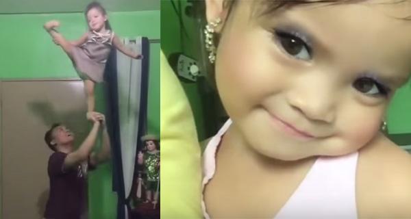 全世界最小的啦啦隊員,菲律賓2歲娃表演金雞獨立、高空拋接網路...