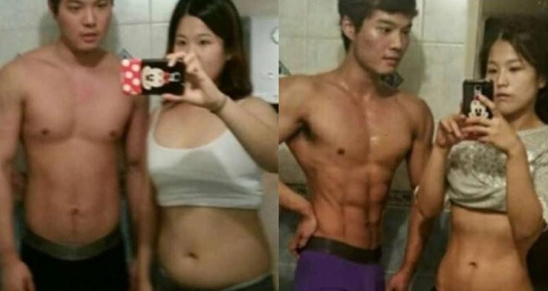 韓國出現一對情侶,只用四個月男生從83公斤減至71公斤,女生...